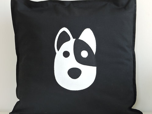 Black Appliqué Dog Cushion