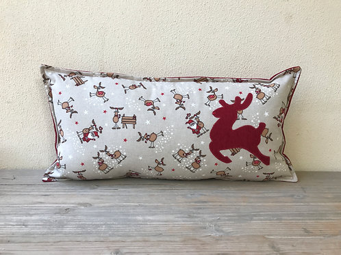 Santa, Reindeer & Stars Cushion with Appliqué Reindeer
