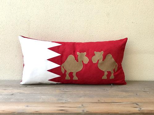 Bahrain Flag Cushion with Appliqué Camel
