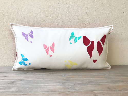 English Bull Terrier Cushion with Appliqué Bully Head