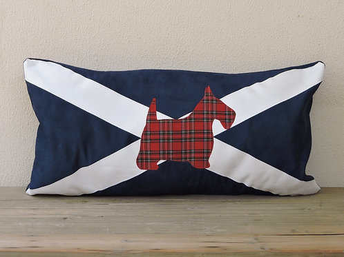Scottish Flag Cushion with Appliqué Scottie Dog