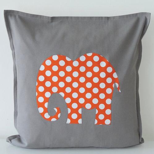 Grey Appliqué Elephant Cushion