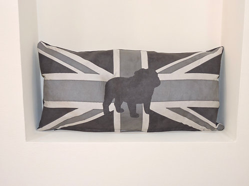 Union Jack Cushion with Appliqué Bull Dog