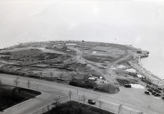 Aerial View of Promontory Point showing underway, 1936, courtesy of Chicago Public Library Special Collections