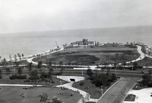 Promontory Point landscape and pavilion construction, 1937, courtesy of Chicago Public Library Special Collections