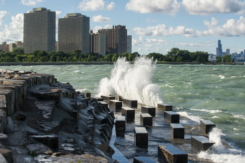 """""""Windy Day at Promontory Point"""" by Marc Monaghan"""