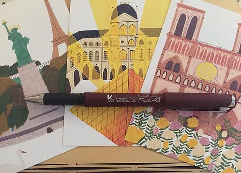 Lot 1 stylo Mont-Ailé et 3 cartes postales originales