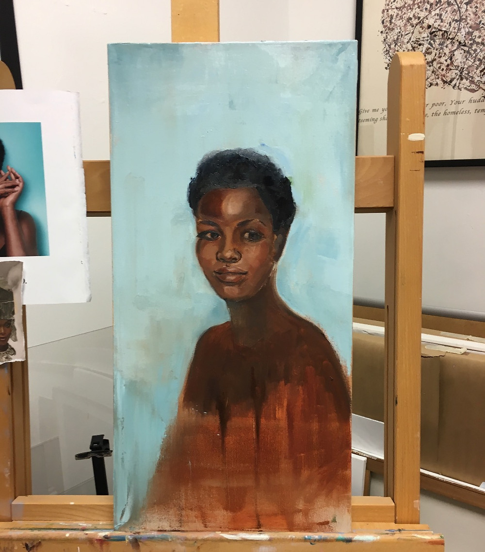 Getting back to portraits........ Latest, oil on canvas I like working with complimentary colors, the Tiffany Blue background against the warm burnt sienna of her clothing and the warm burnt umber of models skin. More work to be done :)
