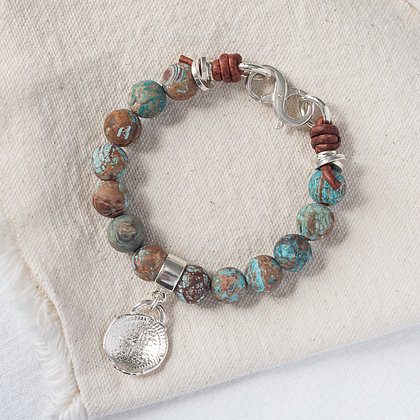 'The Isle' Jasper Bracelet with Stay Lost  Tag   Sterling Silver