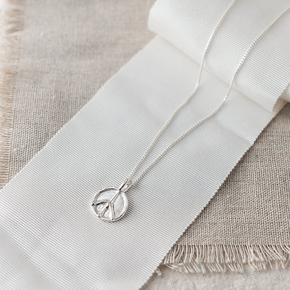 Flower Child Peace Necklace with Diamond | Sterling Silver