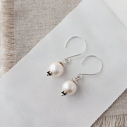 'Luna' Large Round Pearl Earrings | Sterling Silver