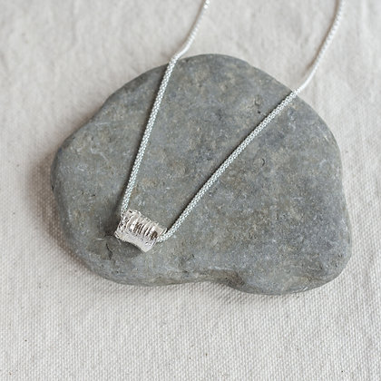 Bark Bead Pendant | Sterling Silver