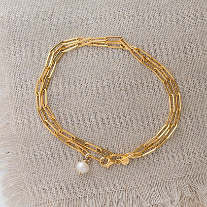'Endless Summer' Anklet Wrap with Pearl   14k Gold-filled