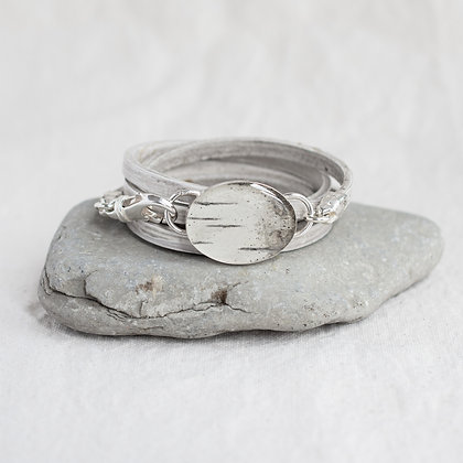 Oval Birch Pendant Wrap in Driftwood | Sterling Silver