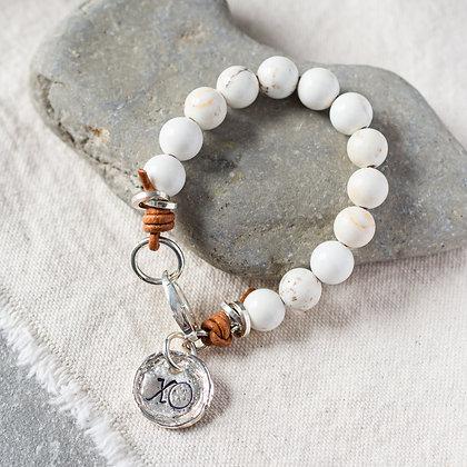 Glossy 'High Tide' XO White Turquoise Bracelet | Sterling Silver