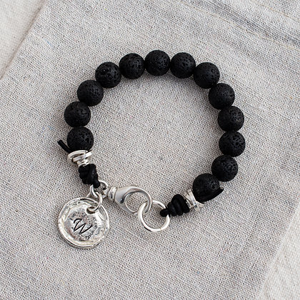 'Courage' Lava Stone Bracelet with Heirloom Tag | Sterling Silver