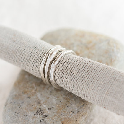 Molten Stacking Rings Trio | Sterling Silver