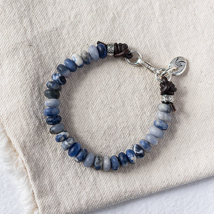 'The Lakeside' Sodalite Bracelet with Wave Tag | Sterling Silver