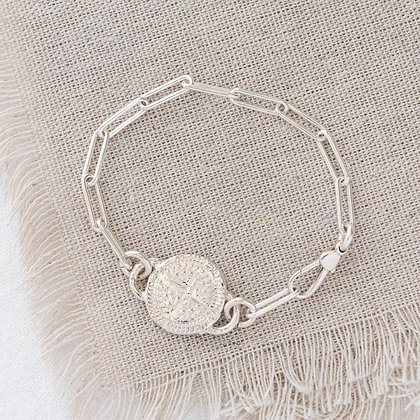 'Keep it Easy' Bracelet with Compass Tag   Sterling Silver