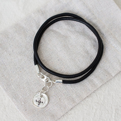 Hang Ten Leather Anklet with Compass Pendant   Sterling Silver