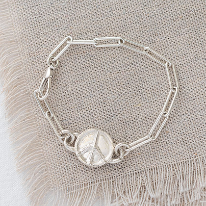 'Keep it Easy' Bracelet with Peace Tag | Sterling Silver