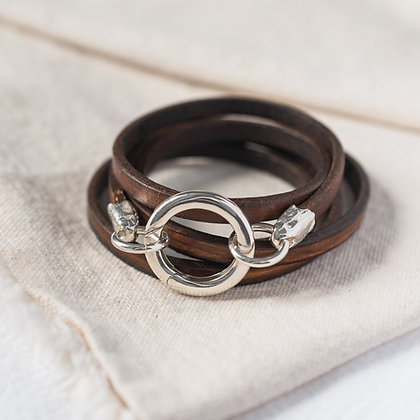 'The Ripple' Leather Wrap in Rustic Brown | Sterling Silver
