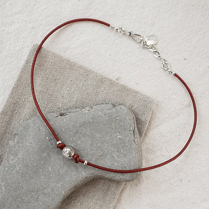 'Courage' Sterling Lava Bead Choker | Sterling Silver