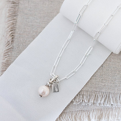 'Luna' Round Pearl Chain Necklace | Sterling Silver