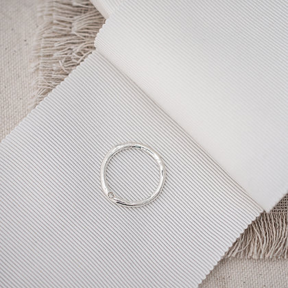 Molten Stacking Ring with Diamond | Sterling Silver