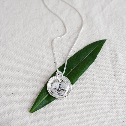 'Get Lost' Compass Tag Necklace | Sterling Silver