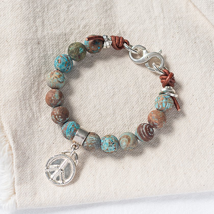 'The Isle' Jasper Bracelet with Peace Tag   Sterling Silver