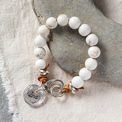 Glossy 'High Tide' Love White Turquoise Bracelet | Sterling Silver