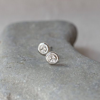 Flower Child Peace Studs | Sterling Silver