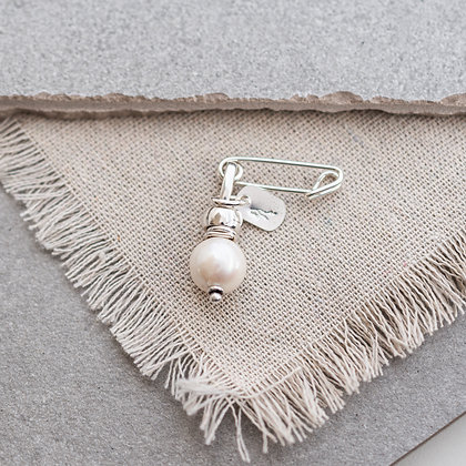 'Luna' Round Pearl Pin | Sterling Silver