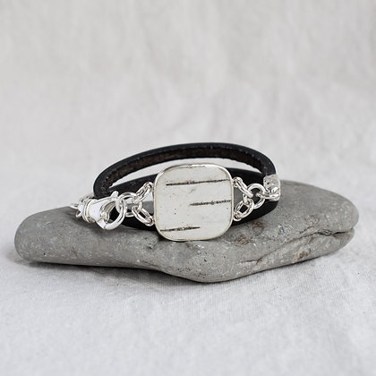 Square Birch Pendant Wrap in Blacksmith | Sterling Silver
