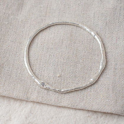 Molten Bangle with Diamond | Sterling Silver