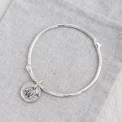 Molten Bangle with Round Heirloom Tag | Sterling Silver
