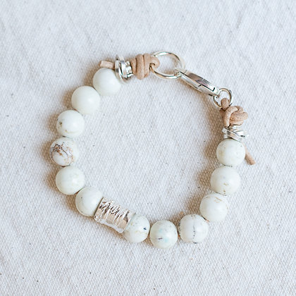 Glossy 'High Tide' White Turquoise Bracelet with Bark Bead | Sterling Silver