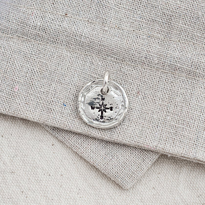 'Get Lost' Compass Tag (only)   Sterling Silver