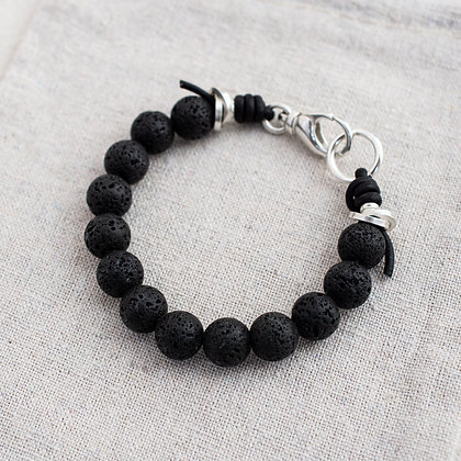'Courage' Lava Bead Bracelet | Sterling Silver