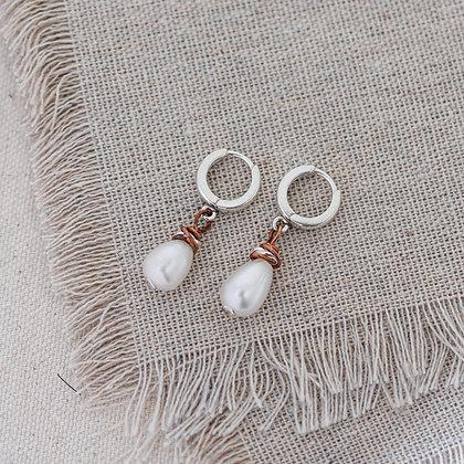 Luna Drop Pearl Hoop Earrings | Sterling Silver