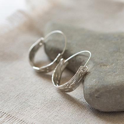 Bark Earrings   Sterling Silver