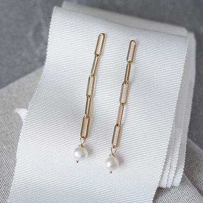 'Luna' Pearl Long Link Earrings | 14k Gold-filled