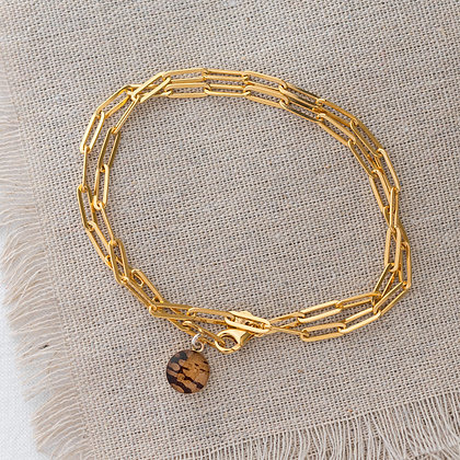 'Endless Summer' Anklet Wrap with Birch Tag   14k Gold-filled