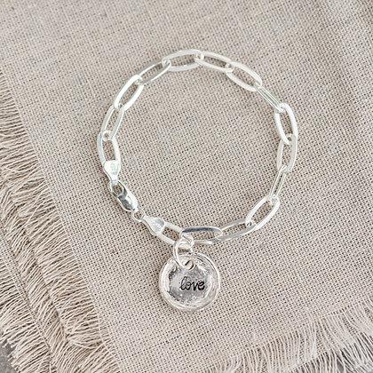 'Love' Link Bracelet   Sterling Silver