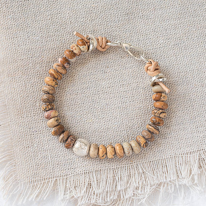 'The Sandbank' Picture Jasper Bracelet with Courage Bead   Sterling Silver