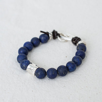 'Gaia' Lapis Bracelet with Bark Bead | Sterling Silver