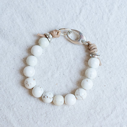 Glossy 'High Tide' White Turquoise Bracelet | Sterling Silver