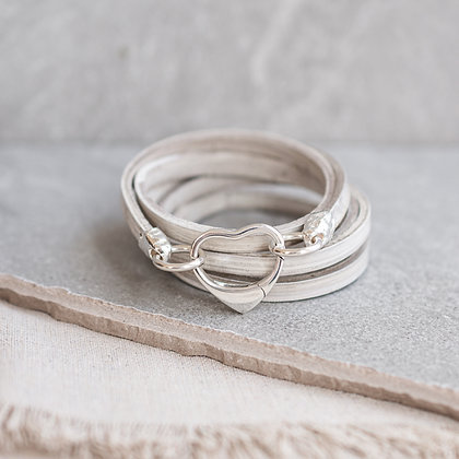 'All My Heart' Leather Wrap in Driftwood | Sterling Silver