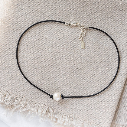 Bohemian Leather and Pearl Choker in Blacksmith